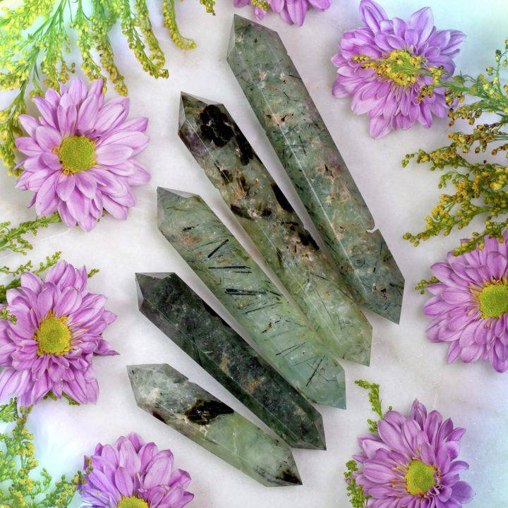Double Terminated Prehnite with Epidote Magnified Healing Wands