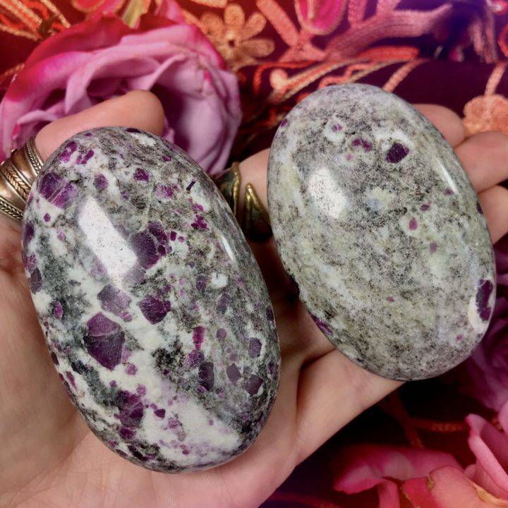 Ruby in Biotite and Moonstone Matrix Palm Stones