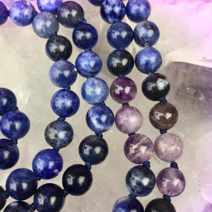 Sodalite, Lepidolite, and Amethyst Rest and Relax without Fear Malas