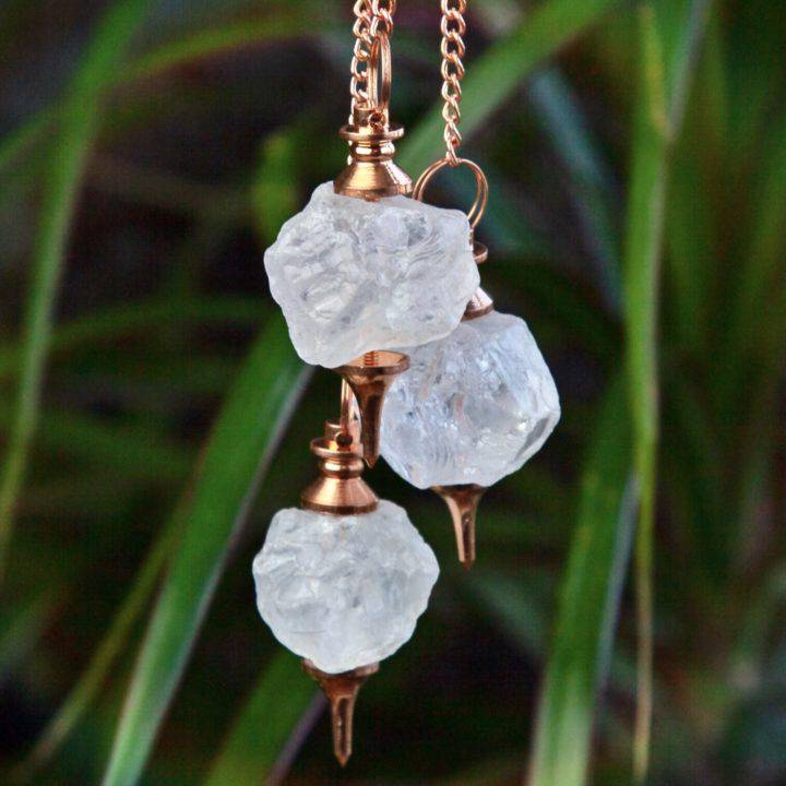 Natural Clear Quartz and Copper Pendulums
