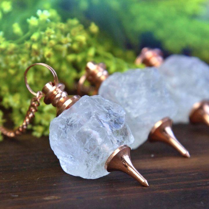 Natural Clear Quartz and Copper Pendulums