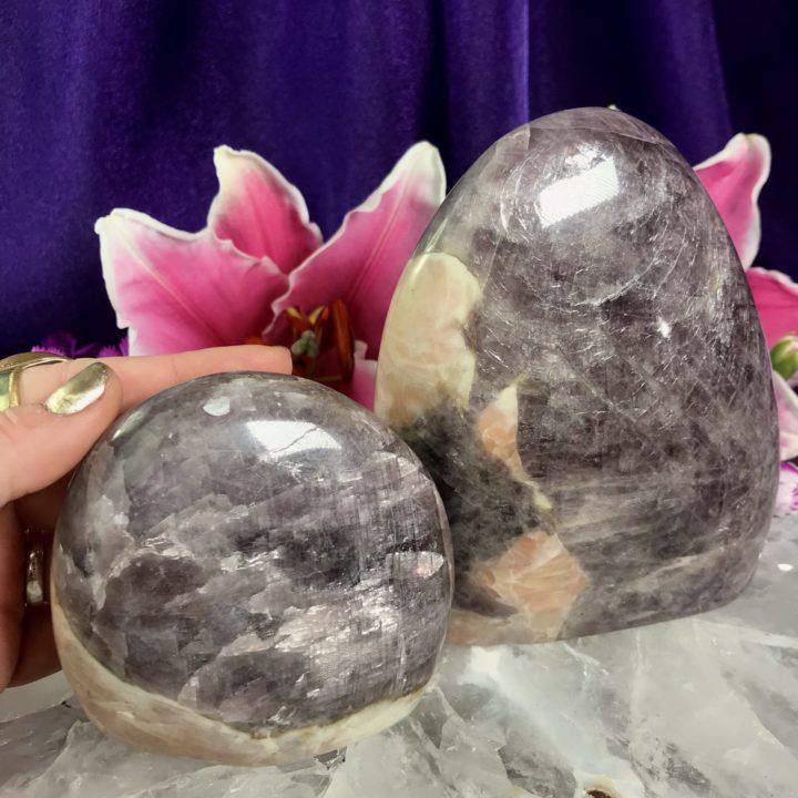 Purple Angelite with Peach Moonstone Pillars
