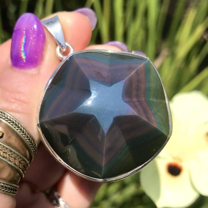 Rainbow Sheen Obsidian Pendant