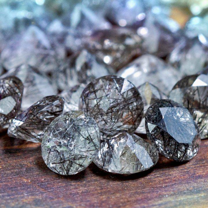 Tourmalinated Quartz Faceted Diamonds
