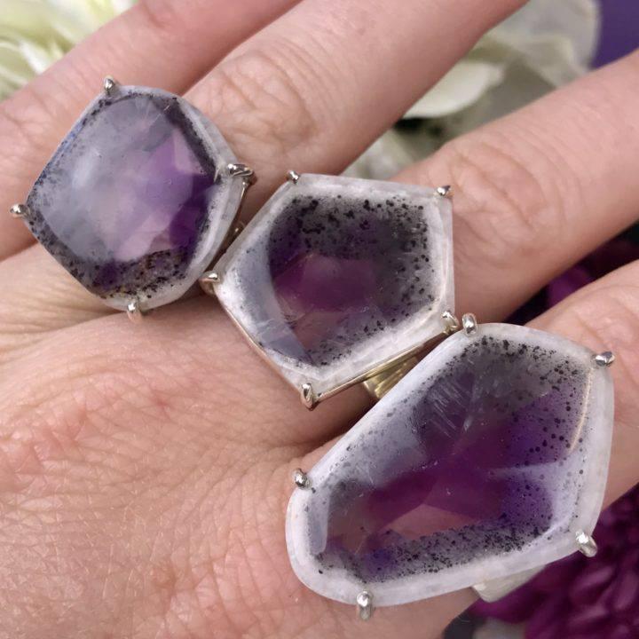 Trapiche Amethyst Rings