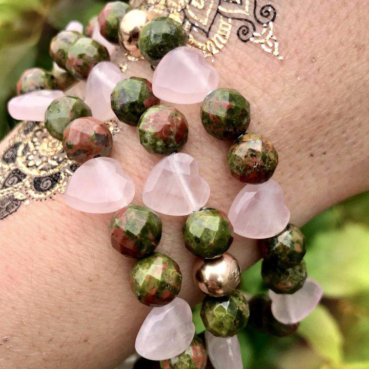 Unakite Jasper and Rose Quartz Heart Healing Bracelets