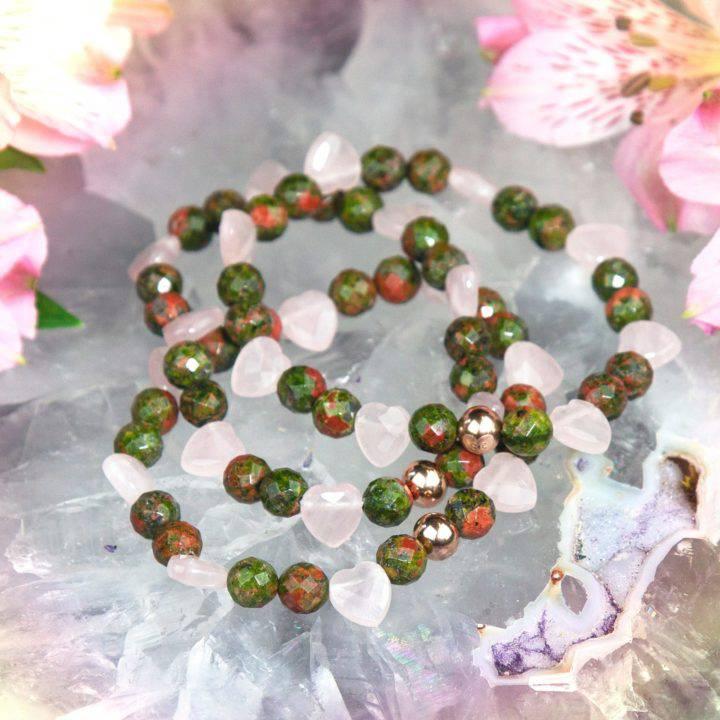 Unakite Jasper and Rose Quartz Heart Healing Bracelets