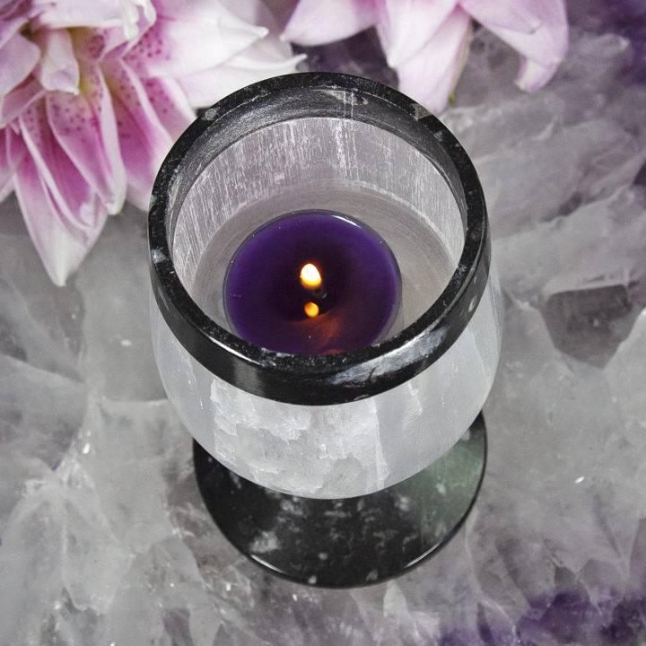 Ancient Wisdom Selenite and Orthoceras Tea Light Holders
