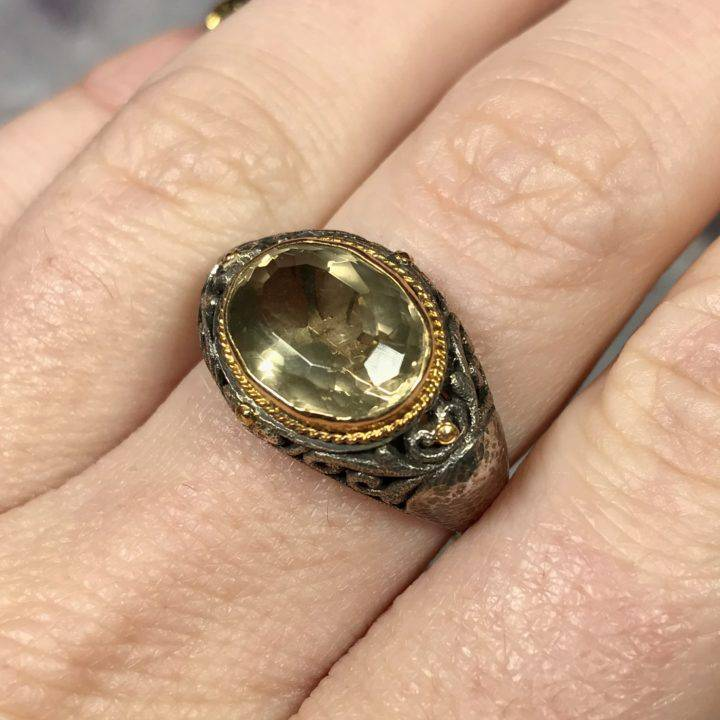 Citrine Monk Ring Size 8.5