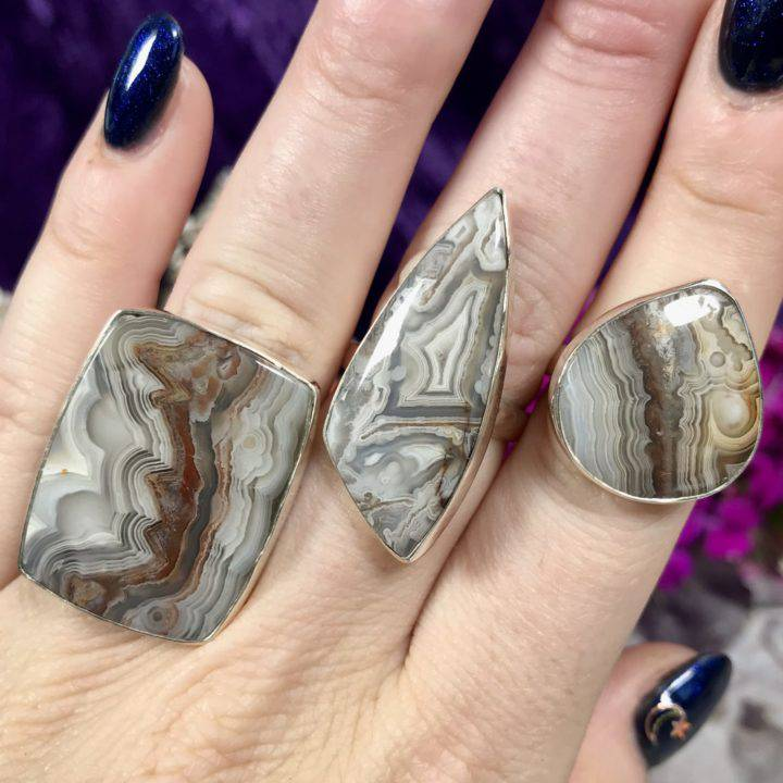Crazy Lace Agate Adjustable Rings