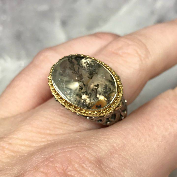 Dendritic Agate Monk Ring Size 7