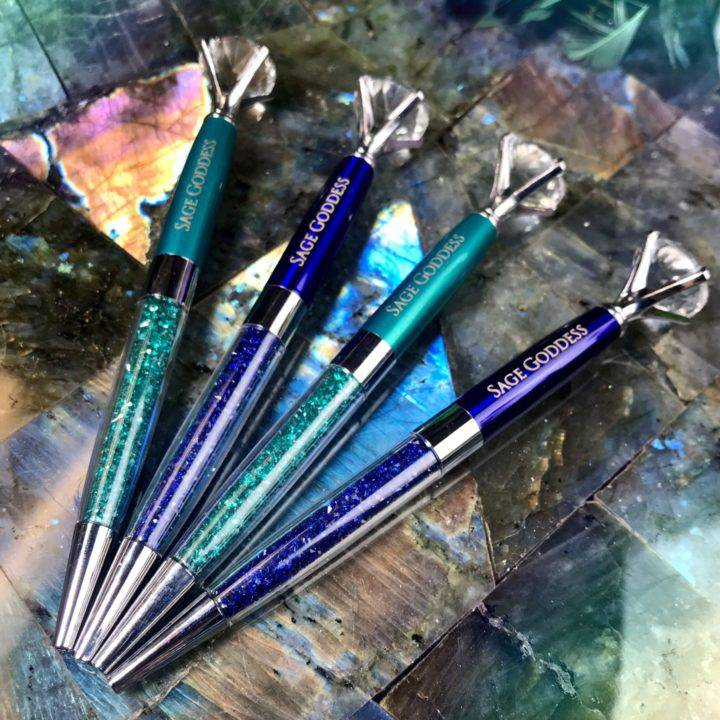 Sage Goddess Glitter Crystal Pens