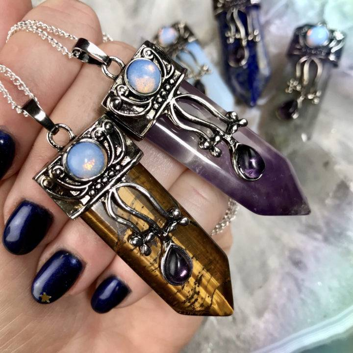 Intuitively Chosen Crystal Point Pendants