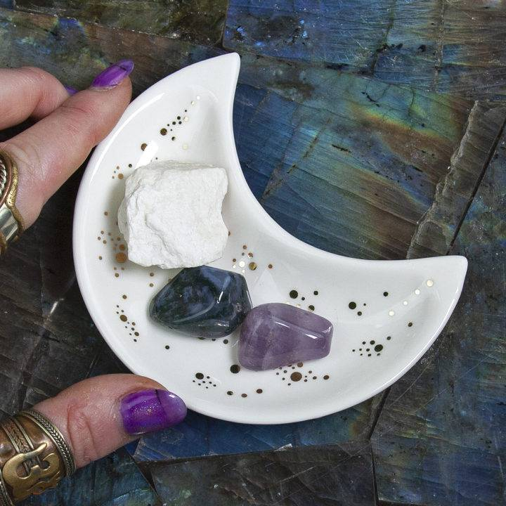 Full Moon Altar Plate with Perfume and Stone Set