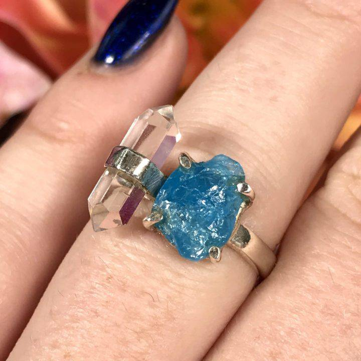 Neon apatite rough sterling silver ring