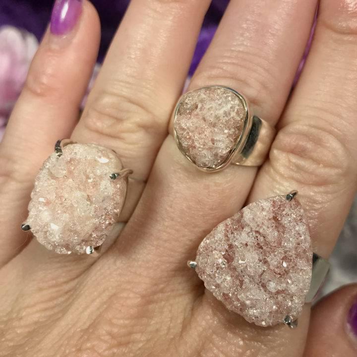Pink Apophyllite Rings