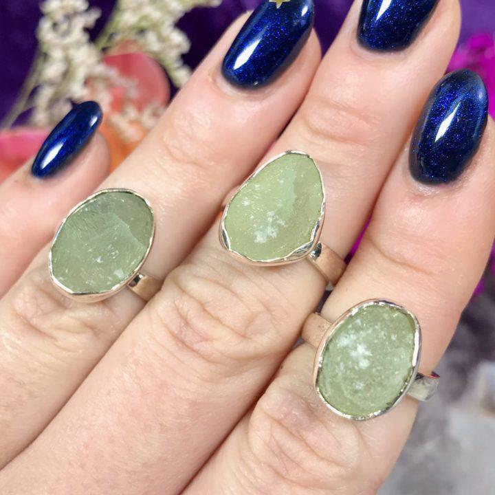 Prehnite Sterling Silver Adjustable Rings