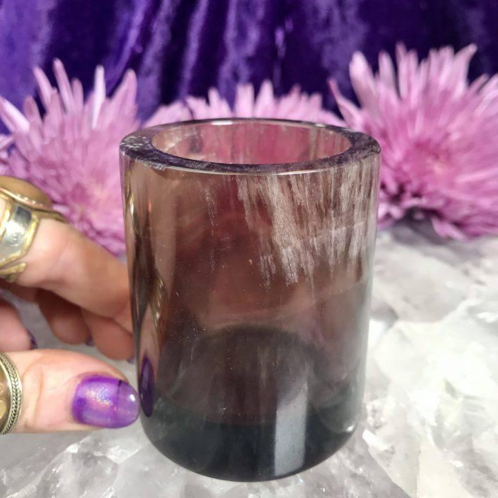 Purple Fluorite Tea Light Holder