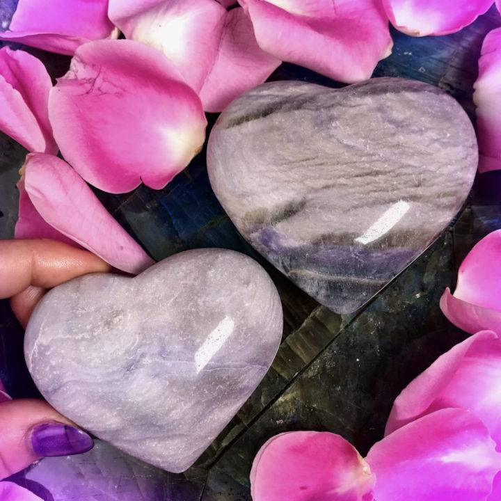 Purple Velvet Fluorite Hearts