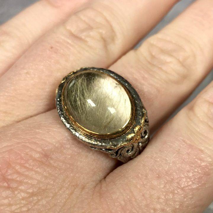Rutilated Quartz Monk Ring Size 10