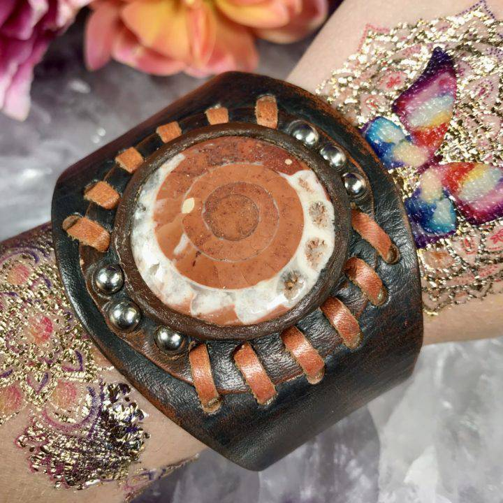 Timor Ammonite Leather Bracelet Band