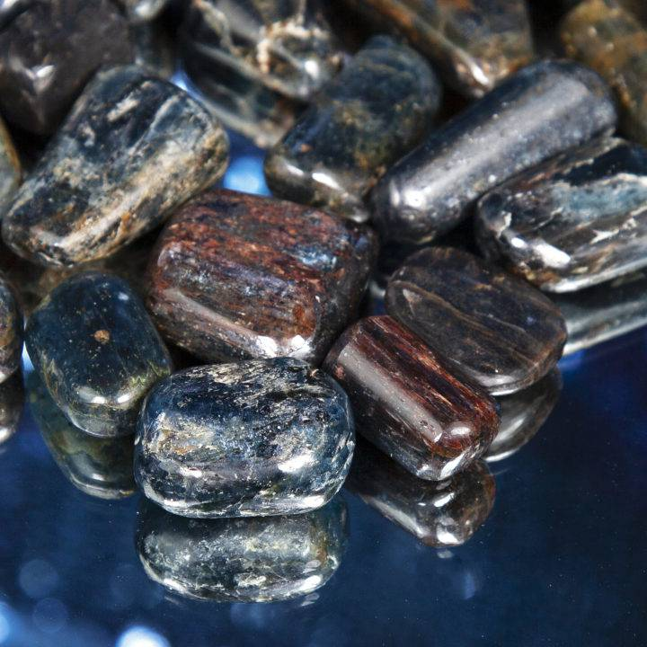 Tumbled Blue Kyanite, Black Tourmaline, and Garnet