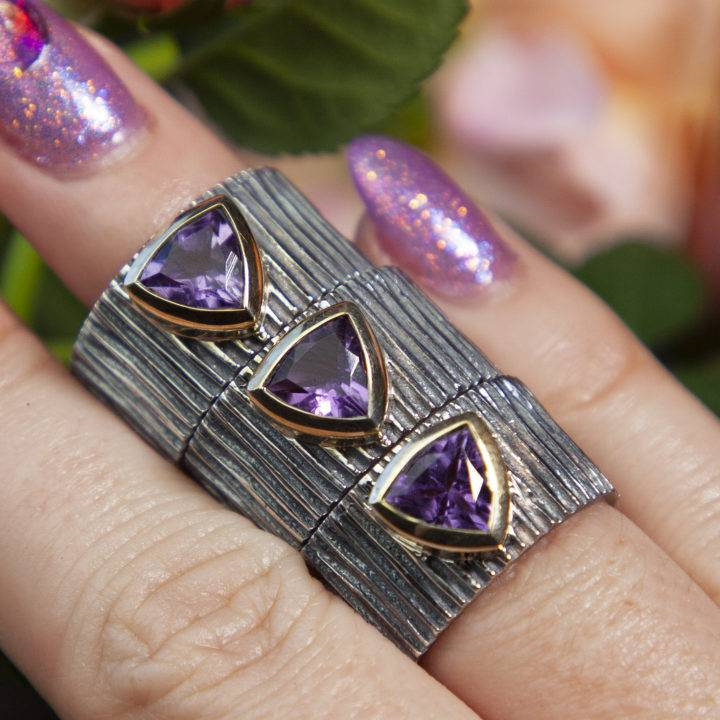 Athena's Shield of Peace Amethyst Rings