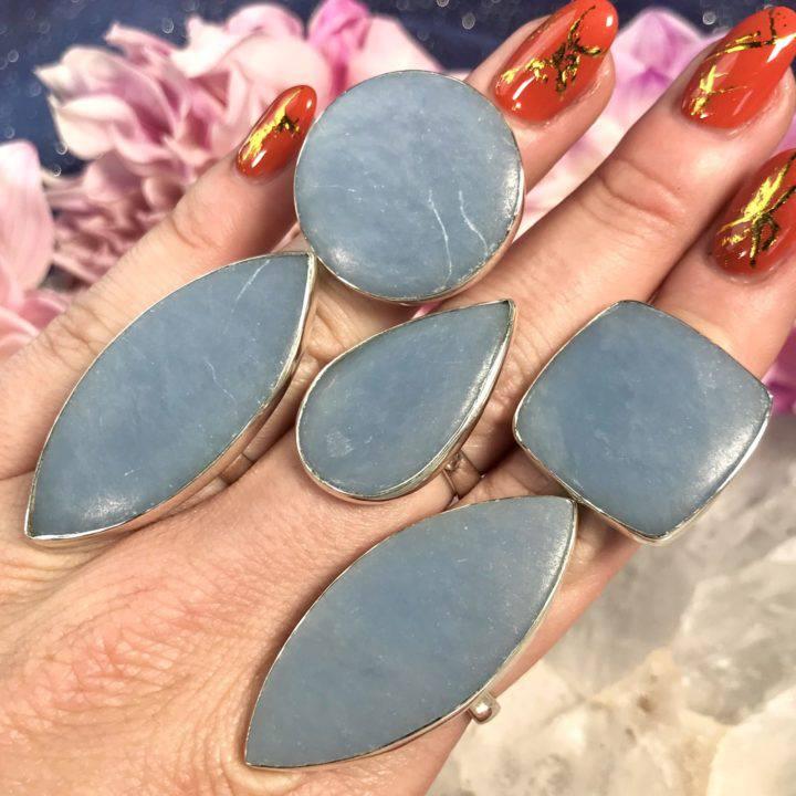 Angelite Sterling Silver Adjustable Rings