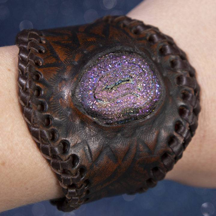 Aura Druzy Quartz on Brown Leather Cuff
