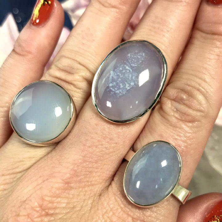 Blue Chalcedony Sterling Silver Rings