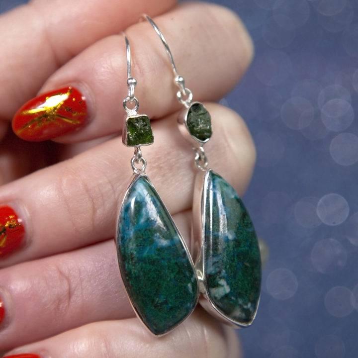 Chrysocolla and Green Tourmaline Earrings