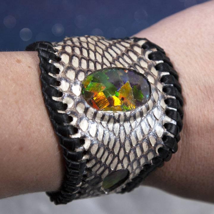 Fire Ammonite on Silver Leather Cuff