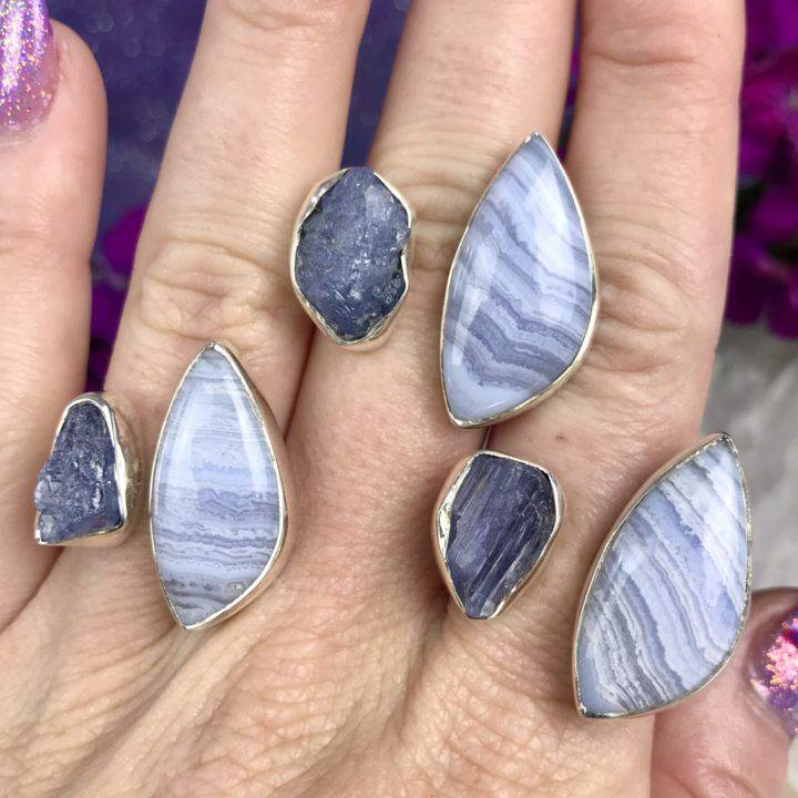 Blue Lace Agate and Tanzanite Adjustable Ring