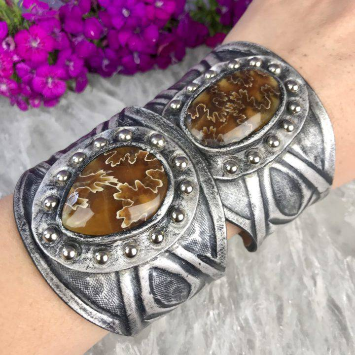 Fern Ammonite and Silver Leather Cuff
