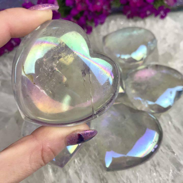 Opal Aura Quartz Hearts