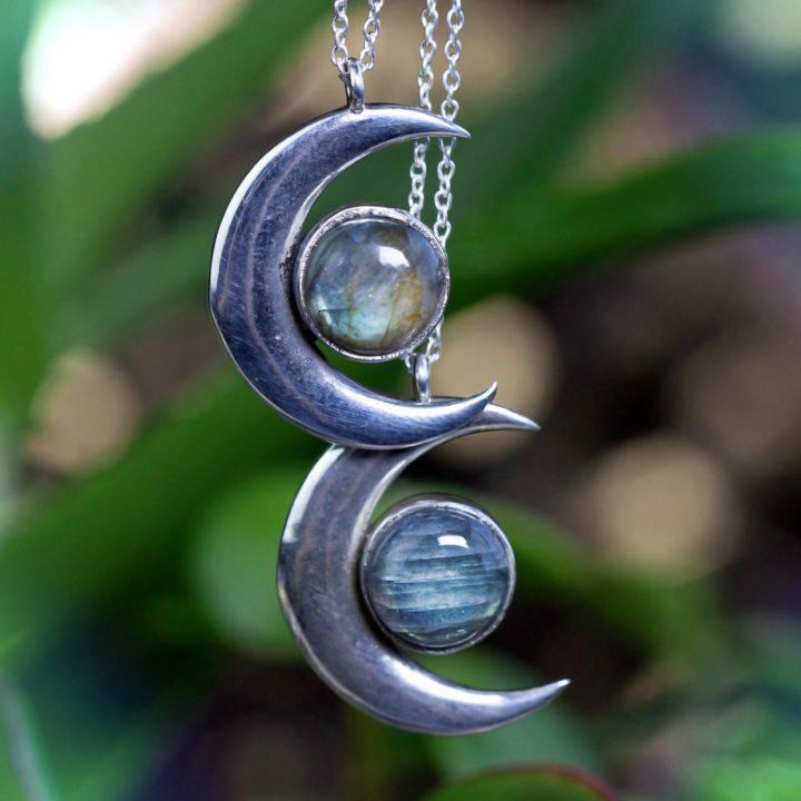 Labradorite Crescent Moon Wishing Necklaces