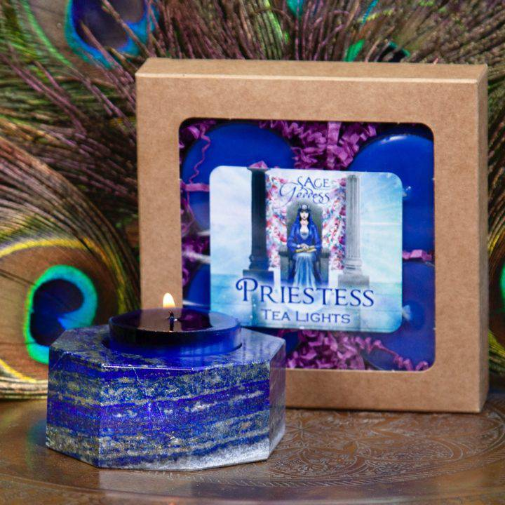 Lapis Octagon Tea Light Holders with Free Priestess Tea Lights