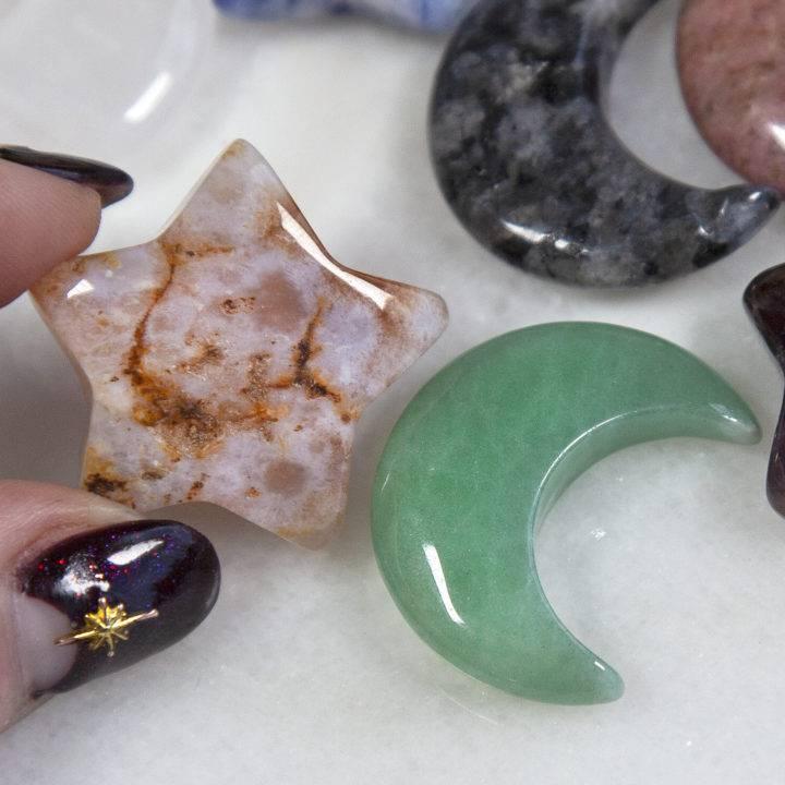Mini Gemstone Moon and Star BeeBops