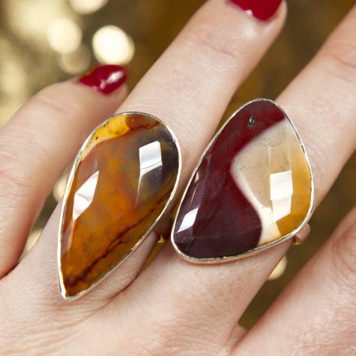 Mookaite Faceted Sterling Silver Adjustable Ring