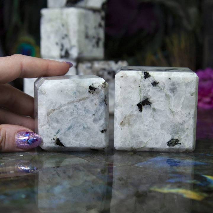 Moonstone and Black Tourmaline Cubes