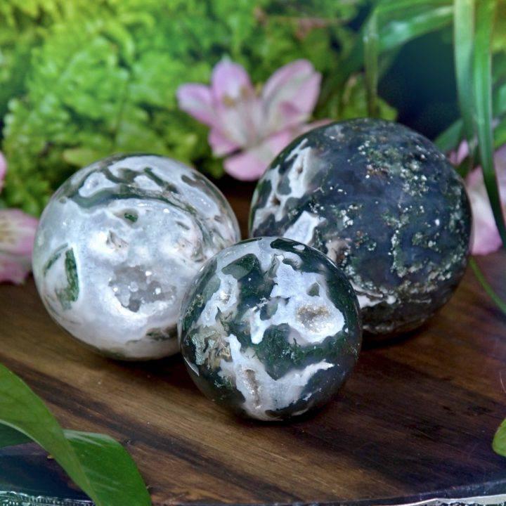 Portals of Optimism Druzy Moss Agate Spheres
