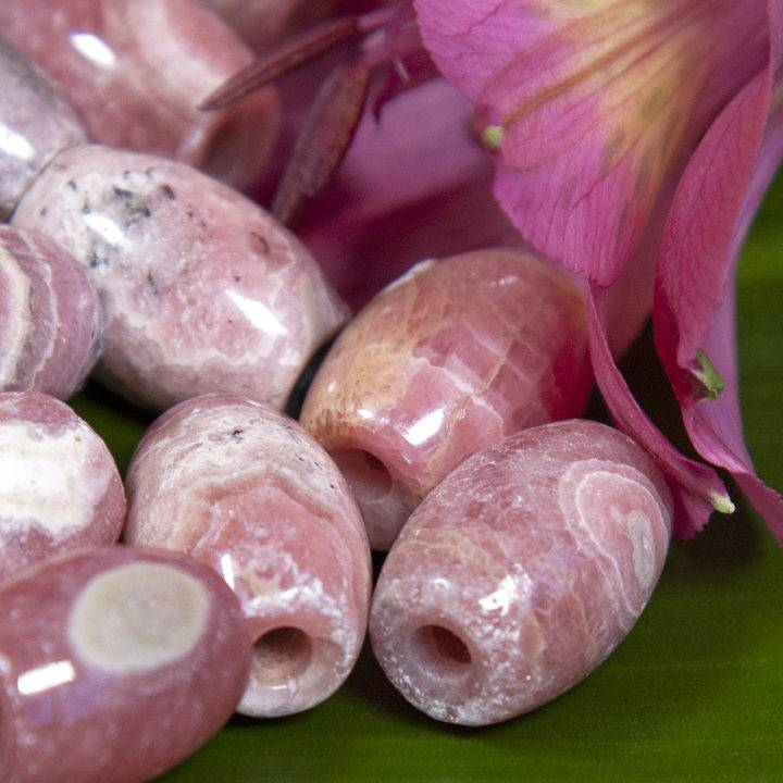 Rhodochrosite Barrel Beads