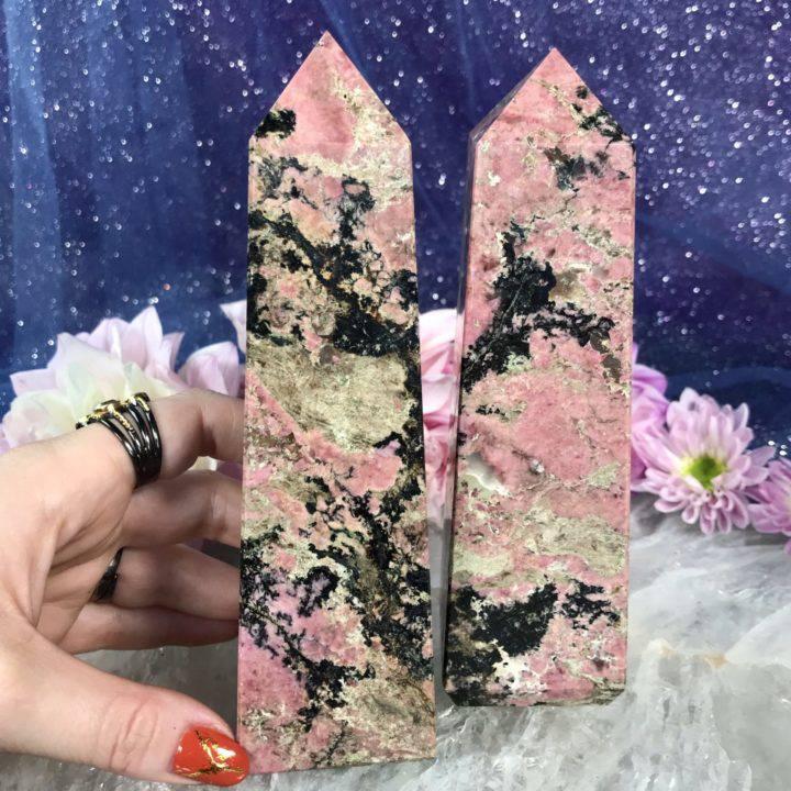 Rhodonite with Quartz Inclusions Obelisks