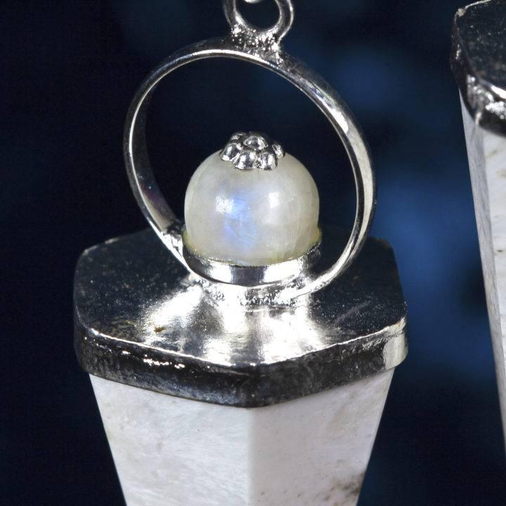 Scolecite and Rainbow Moonstone Pendulums