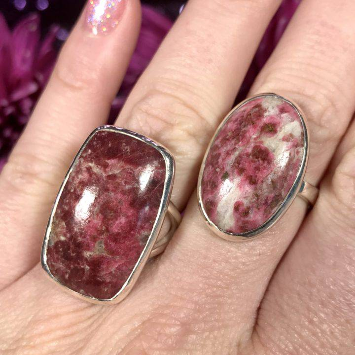 Thulite Sterling Silver Ring Size 8