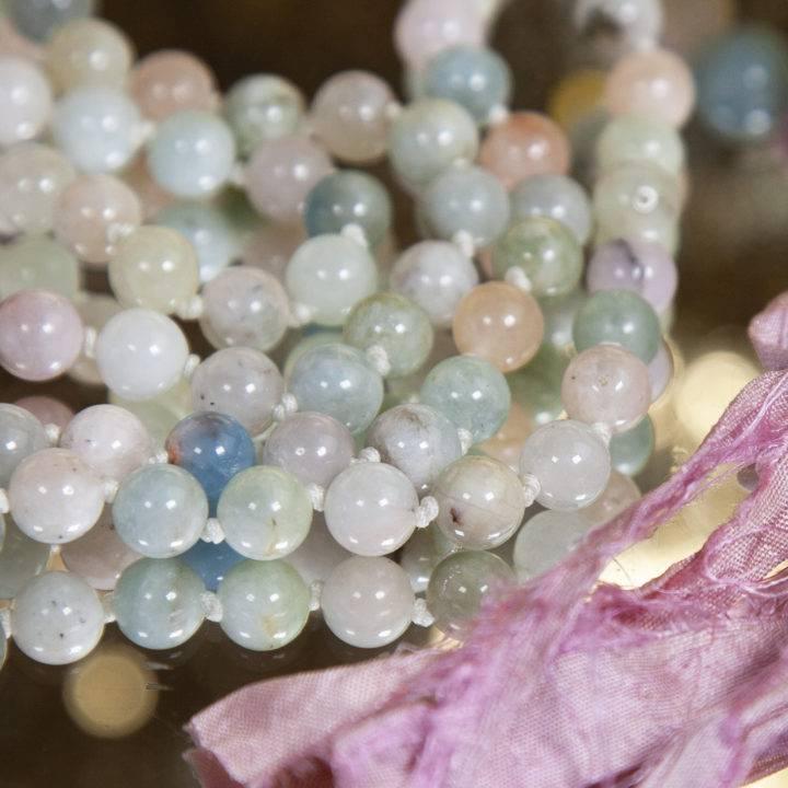 Aquamarine and Morganite Prayer Malas