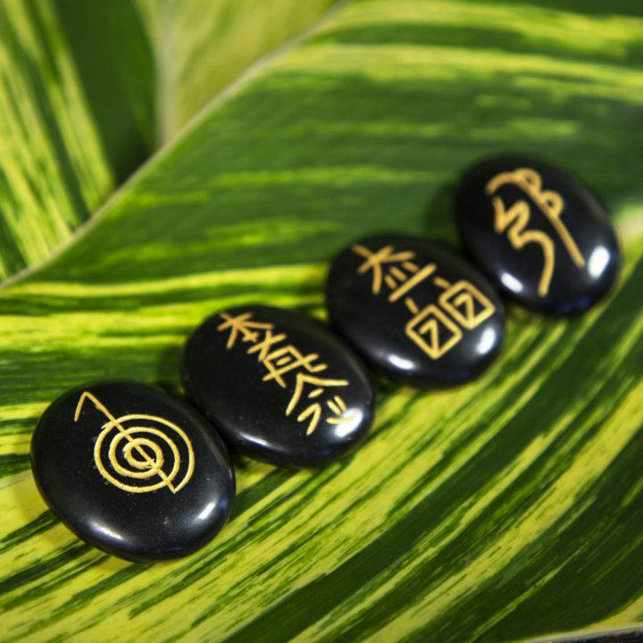Black Agate Reiki Palm Stone Set