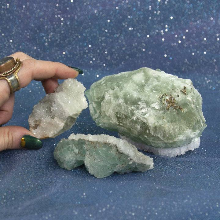 Calcite on Fluorite with Pyrite