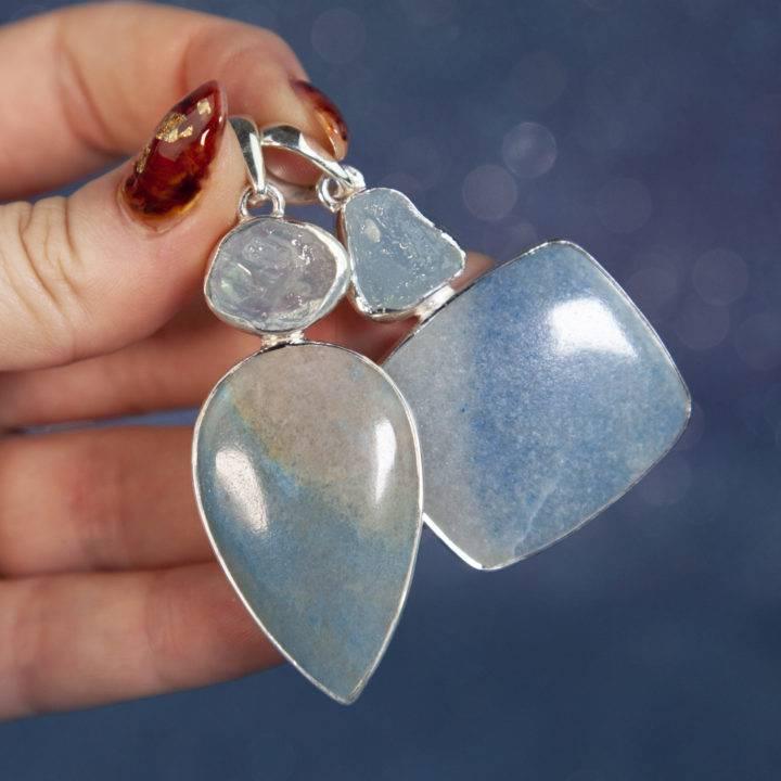 Dumortierite and Aquamarine Pendants