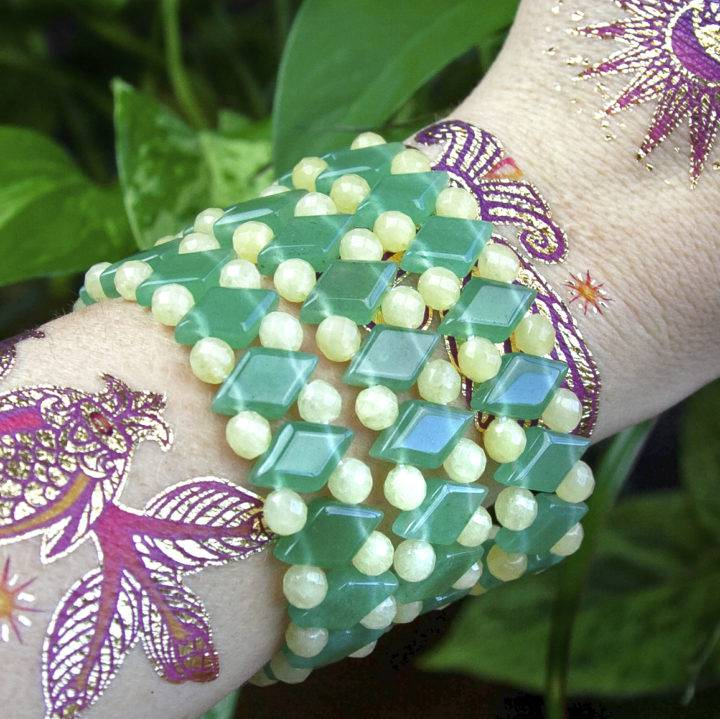 Green Aventurine and Honey Jade Bracelets